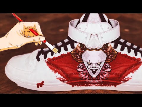 Art tik tok painting compilation It 2 pennywise customizing sneakers acrylic painting for beginners