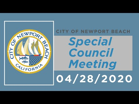 Newport Beach City Council Special Meeting On Beaches During COVID-19: April 28, 2020
