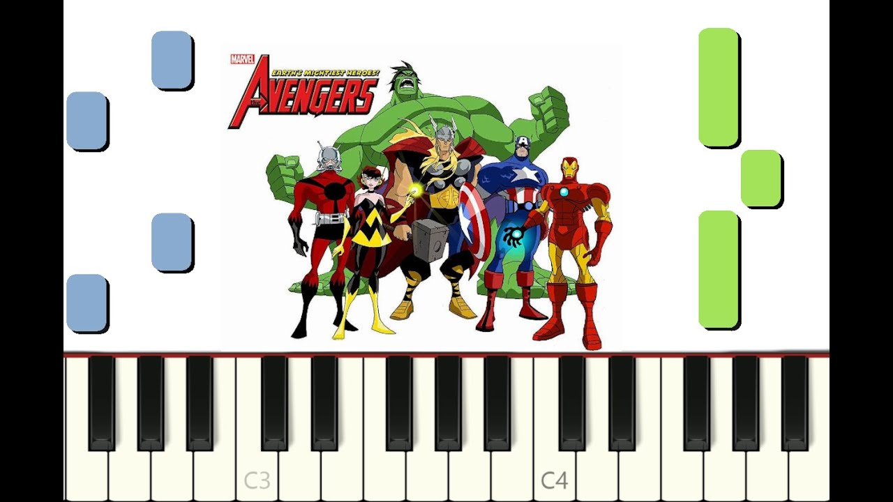 """Download piano tutorial """"THE AVENGERS : EARTH'S MIGHTIEST HEROS"""" opening, 2010, with free sheet music (pdf)"""