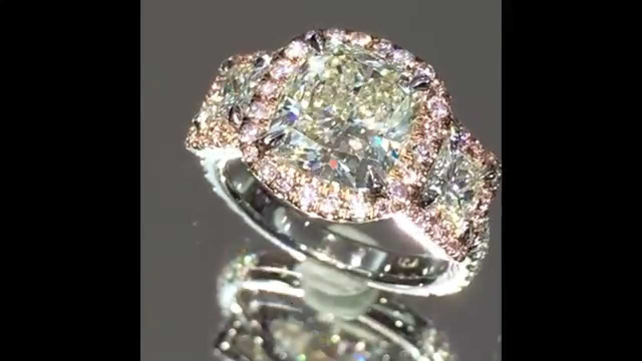 3 Carat 3 Stone Cushion Diamond Ring In Pink Diamond Halo