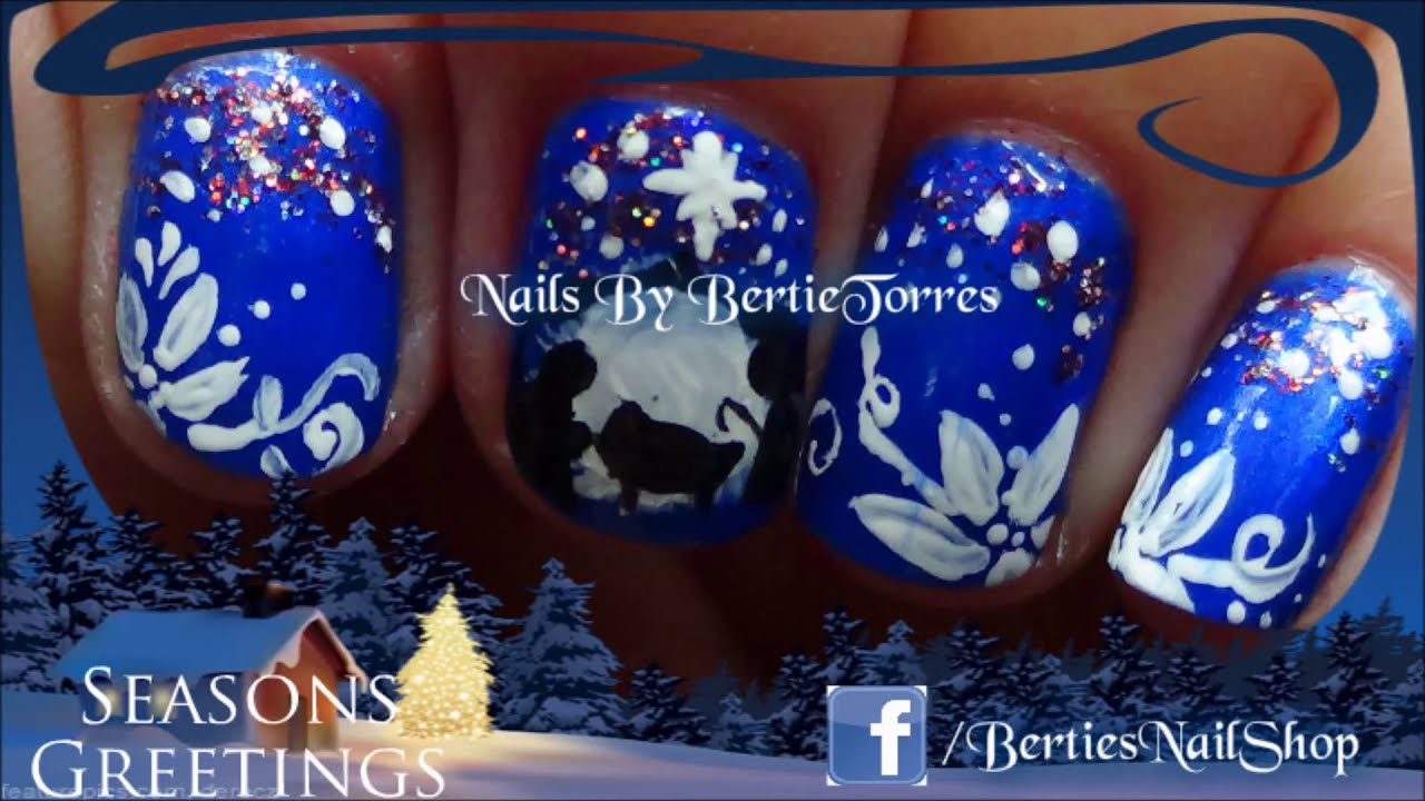 Christmas Nails : Nativity Siloutte Nail Art - YouTube