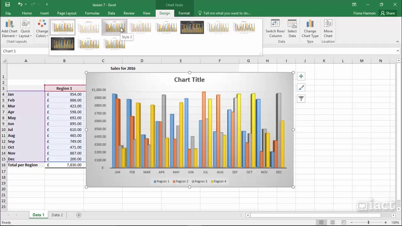 Chart Styles Excel 2016 Charts
