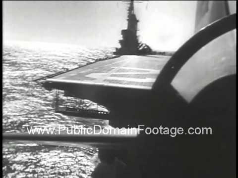 USS Franklin D. Roosevelt Aircraft FDR Carrier Newsreel - stock footage - PublicDomainFootage.com