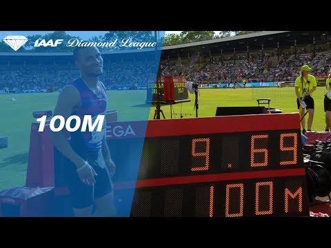 Andre de Grasse wins the Men's 100m in 9.69!!!!!!! - IAAF Diamond League Stockholm 2017