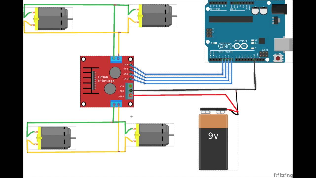 l298n h bridge arduino 4wd youtube Arduino Uno Projects Arduino Uno Circuit Diagram