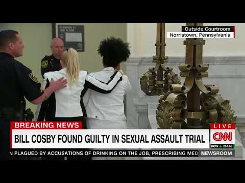 Bill Cosby survivors cry outside courthouse on CNN