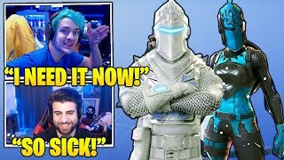 STREAMERS Reacts TO *NEW* WINTER White 'Black Knight & Red Knight' SKINS! (Fortnite FUNNY Moments)