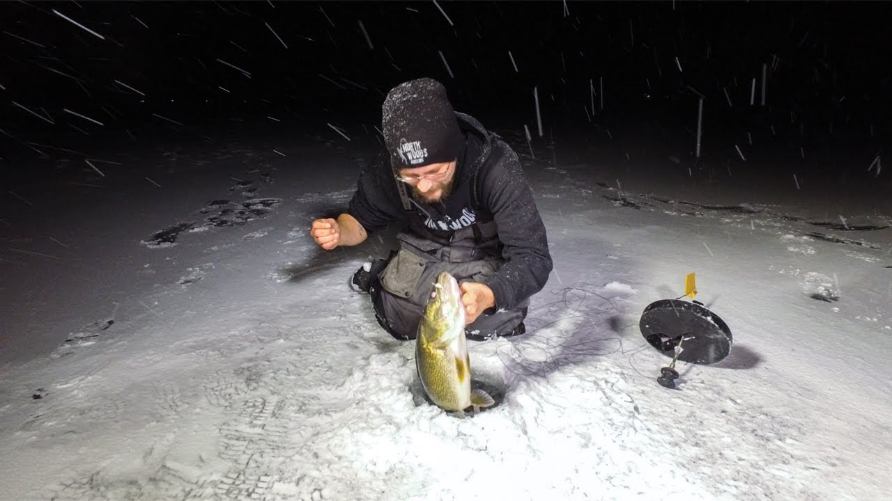 Ice fishing walleye tip up fishing mille lacs lake for Lake mille lacs ice fishing