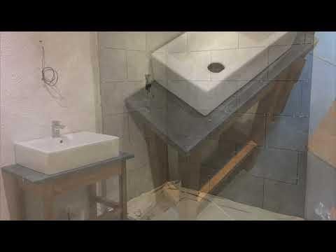 Vid 46 Slate worktops, bespoke basin units door steps and gravel  1