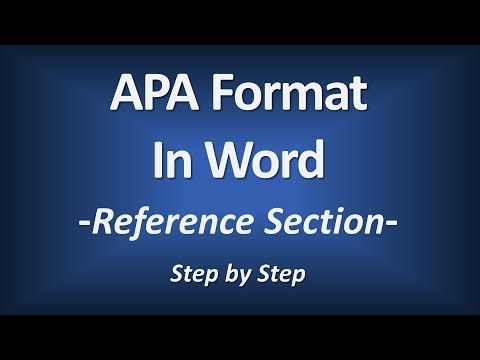 APA Format In Word - Reference Section (American Psychological Association)