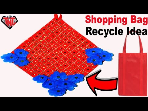 How To Make Wall Hanging || DIY Recycled Shopping Bags Wall Hanging || Waste Recycled Crafts