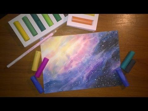 DIY: КАК НАРИСОВАТЬ КОСМОС ПАСТЕЛЬЮ (How to draw starry night sky)