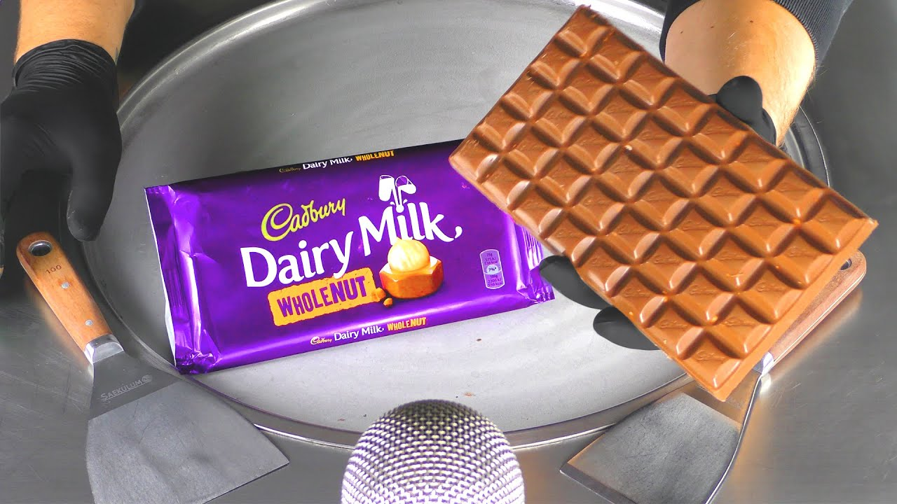 ASMR - Cadbury Dairy Milk Whole Nut Ice Cream Rolls | how to make Chocolate & Nuts to Ice Cream Food