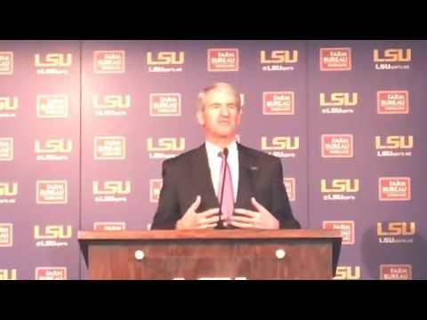 Joe Alleva announces the firing of LSU basketball coach Johnny Jones