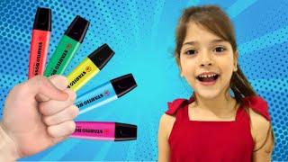 preschool toddler learn color شفا والأقلام السحرية