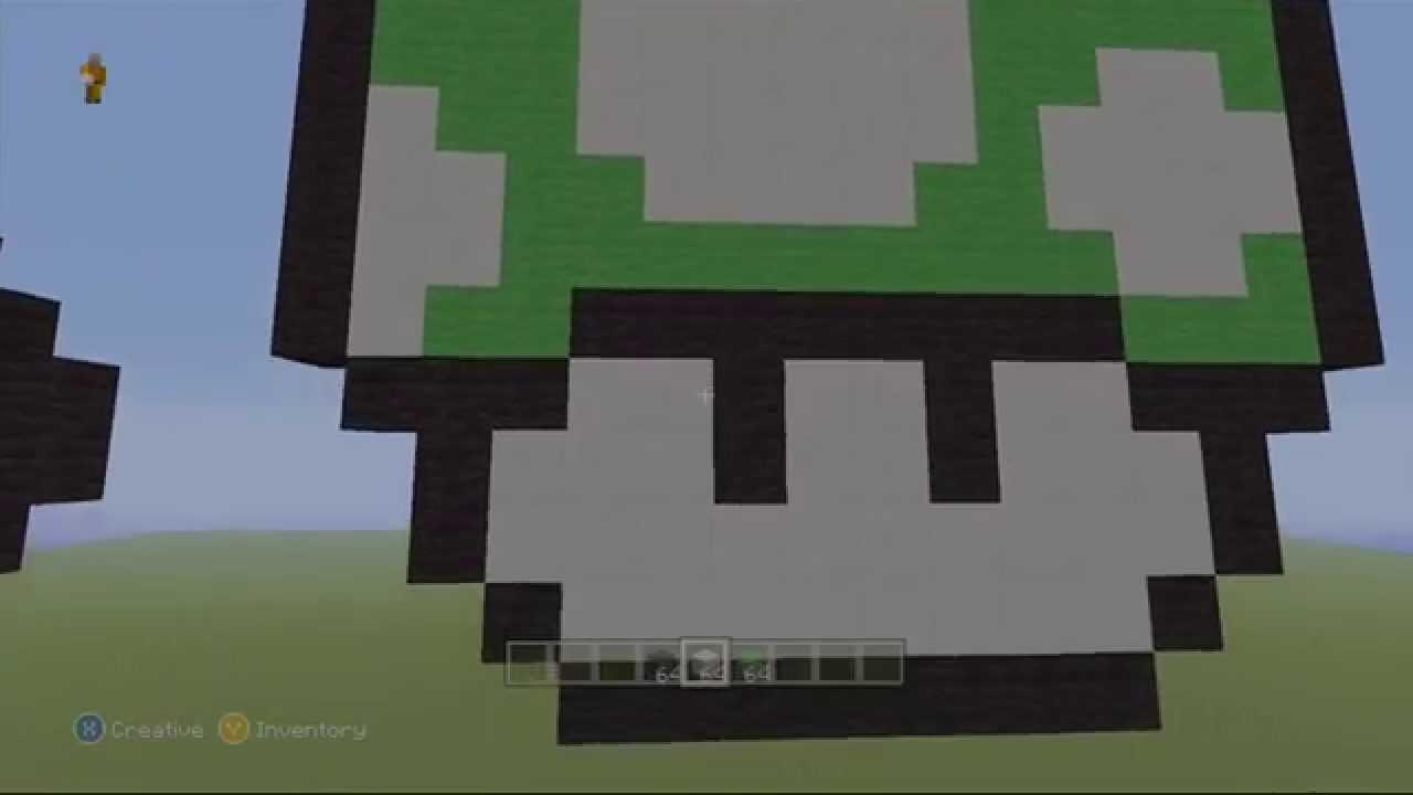 Super Mario Bros Minecraft Pixel Art 1 Up Mushroom Youtube