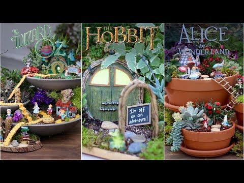 3 Movie Themed Fairy Gardens (Wizard Of Oz - Hobbit - Alice In Wonderland)