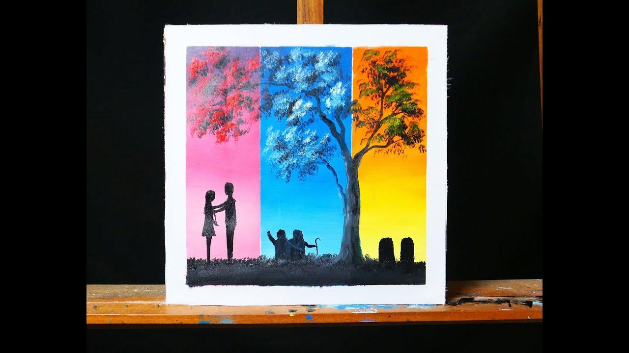 Vẽ tranh galaxy, tranh decor cực đỉnh/ cặp đôi hạnh phúc/ Couple in love under tree