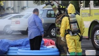 Hazmat Team Operation - Biohazard At Bank In Modesto, California - Raw Video