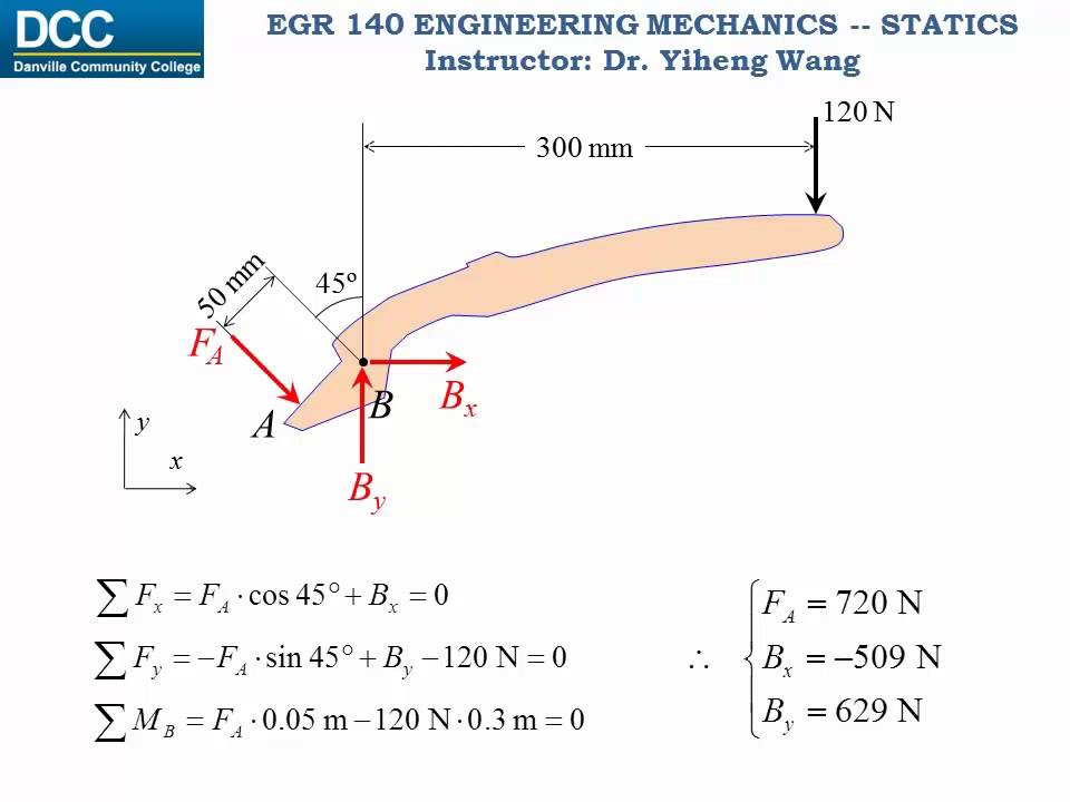 statics lecture 35 frames and machines youtube
