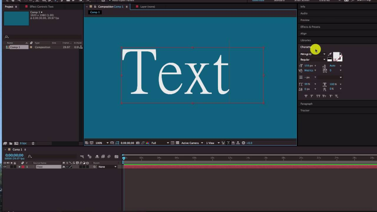 text disappear in after effect tutorial