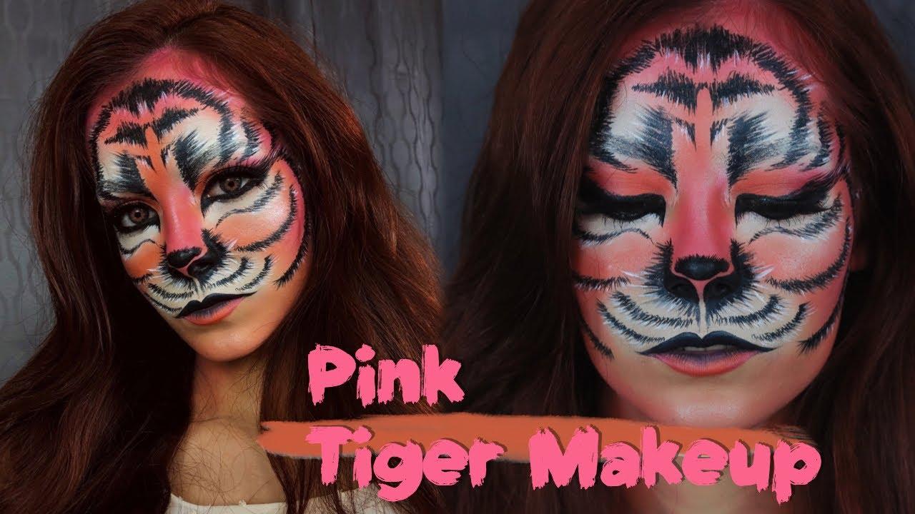 Maquillaje De Tigre Rosa Para Halloween Pink Tiger Makeup