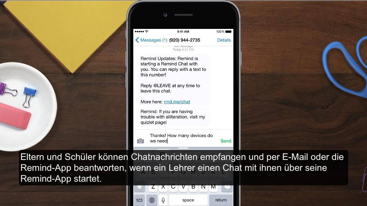 Verwendung Remind Chat: Deutsch - YouTube