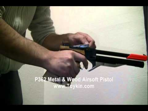 324 fps Spring P362 Metal & Wood Airsoft Pistol