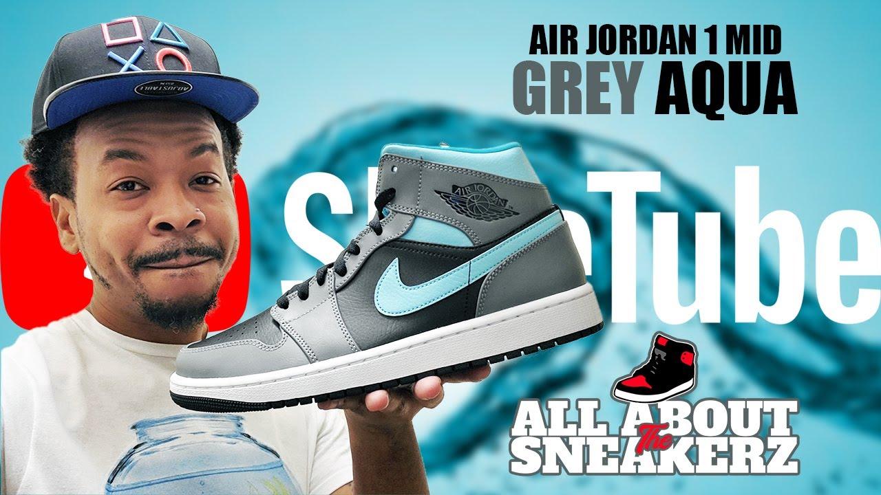 AIR JORDAN 1 MID 'GREY AQUA' UNBOXING AND REVIEW!!