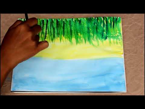 Easy Landscape Painting for Kids using Okra!
