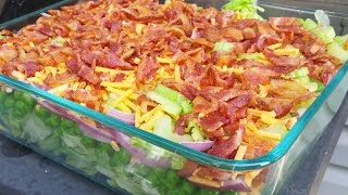Seven Layer Salad With Dressing
