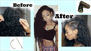 How To Sew In Curly Hair! Fake  Shaved Side Style!Ft.Wowafrican