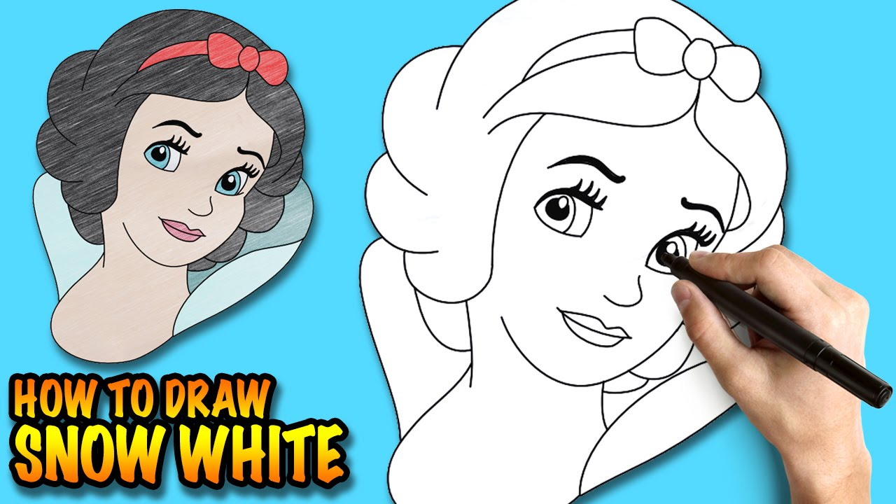 How To Draw Snow White  Easy Stepbystep Drawing Lessons For Kids   Youtube
