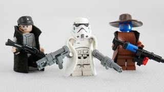 how to make lego minifigures 1 cad bane stormtrooper imperial officer with custom guns and capes