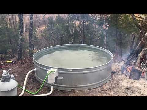 Primitive Wood Fired Hot Tub Test: Pickle's Ford Cabin