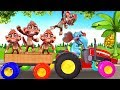 Funny Monkeys Plays With Toy Tractor Colors Tyres - Five Little Monkeys Nursery Rhymes & Kids Songs