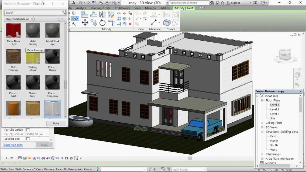 Revit architecture tutorial 2016 | Wall add custom paint