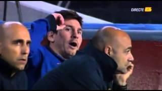 رد فعل ميسي من دكة البدلاء ضد باريس سان جيرمان 10/4/2013