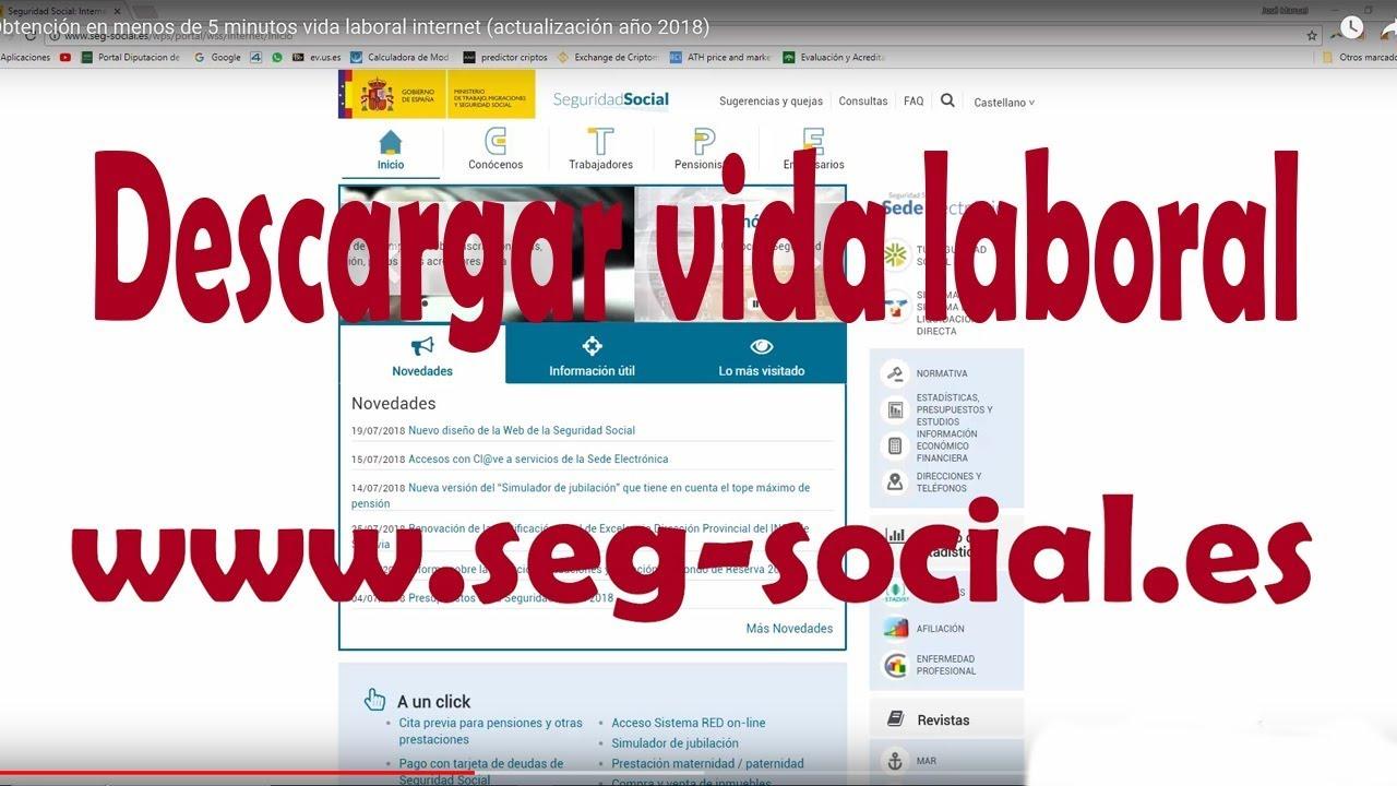 Obtencion En Menos De 5 Minutos Vida Laboral Internet Actualizacion