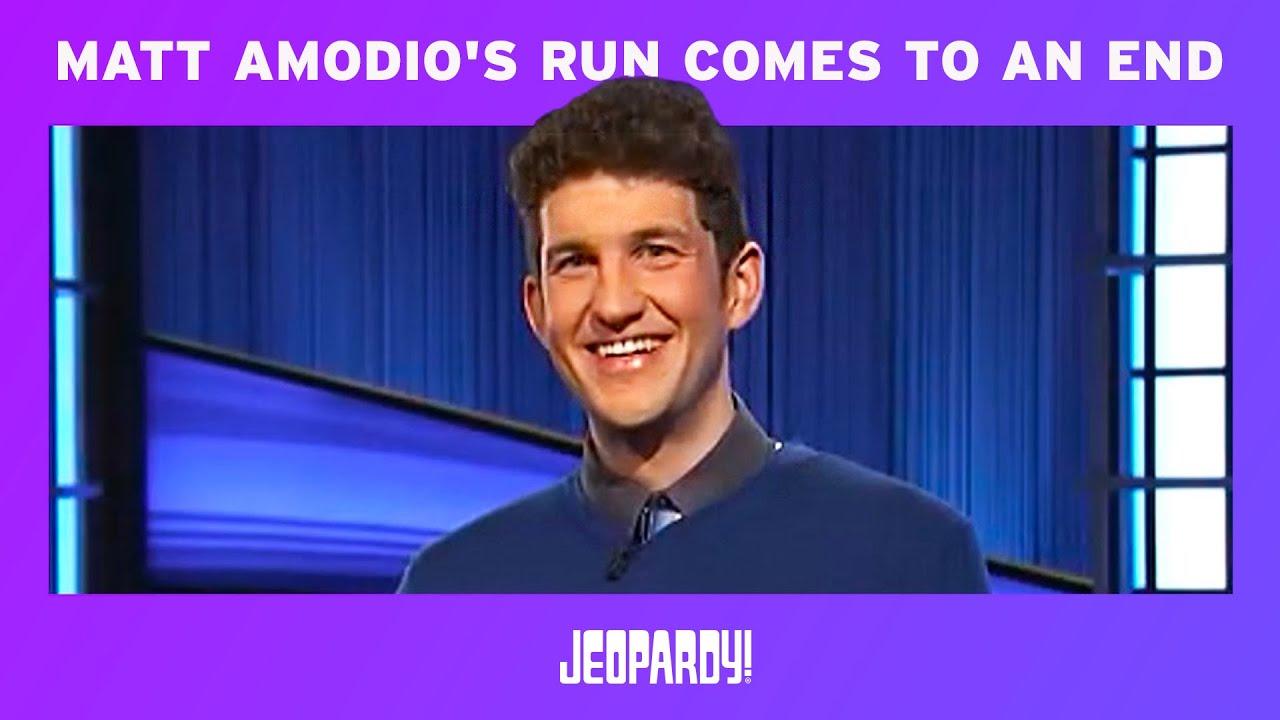 Matt Amodio's 'Jeopardy' winning streak ends after 38 consecutive ...