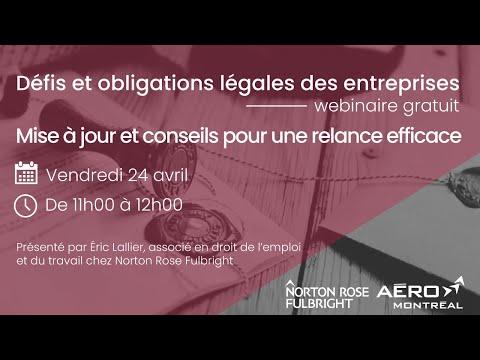 Webinaire COVID-19 : Défis et obligations légales des entreprises : mise à jour pour une relance