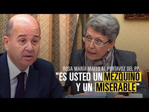 """Rosa María Mateo llama """"mezquino y miserable"""" a un diputado del PP por mencionar a su hijo"""