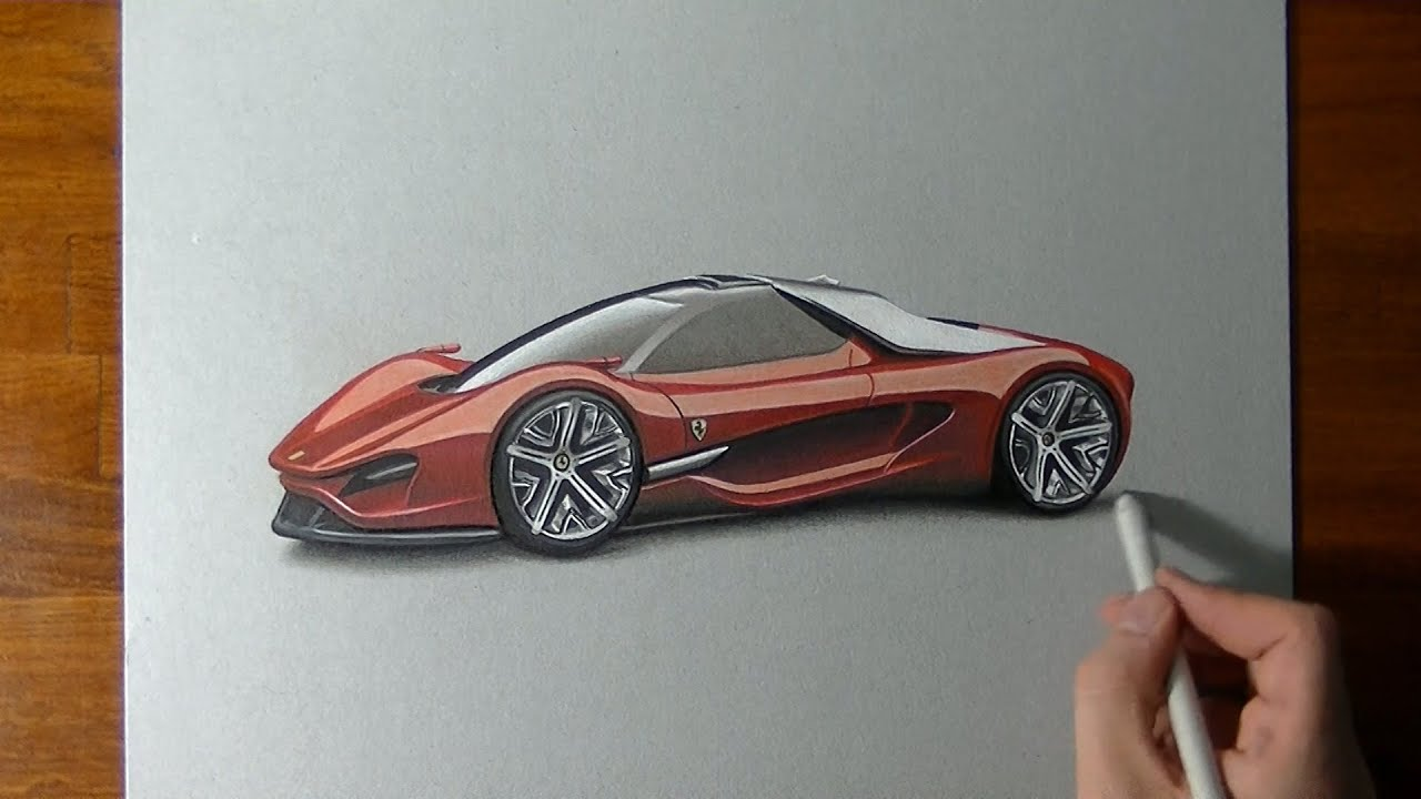 Drawing Time Lapse: an amazing Ferrari Xezri