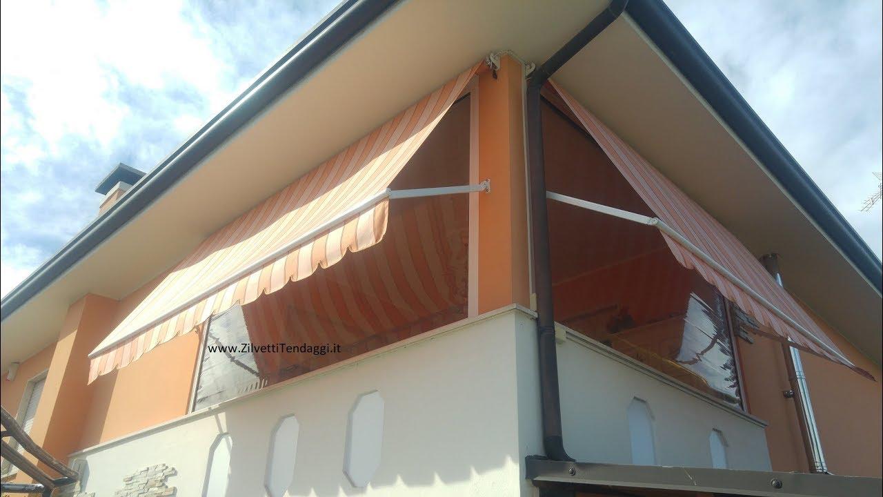 """I profili, interno ed esterno, accoppiati formano una struttura a doppia camera d'aria con proprietà di isolamento termico certificato."""" Tenda Antipioggia Pvc Trasparente Per Balcone Terrazzo Poggiolo Tenda Invernale Youtube"""