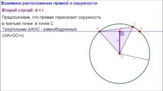 Геометрия 8 класс. Взаимное расположение прямой и окружности