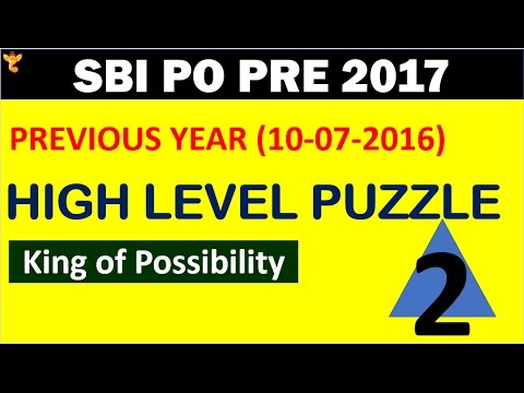 Sbi Po Pre 2017 High Level Puzzle (reasoning) #2king Of