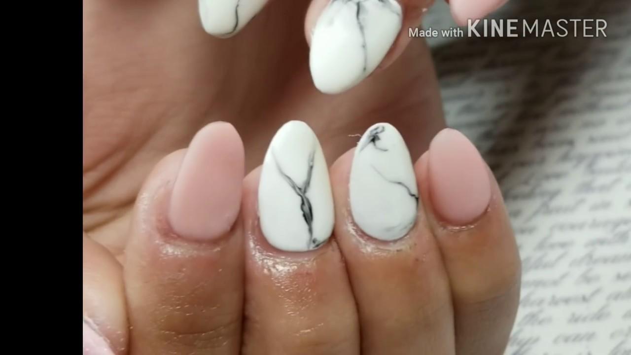Uñas Acrilicas punta almendra con Formas/ Uñas mordidas - YouTube