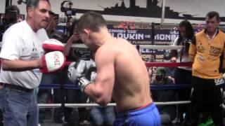 GGG Gennady Golovkin COMPLETE POWER PUCHING MITT WORKOUT -  Even Scares Trainer!