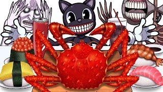 Mukbang Animation King Crab Sushi set eating Cartoon cat