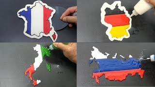 4 Countries Pancake Art - France, Germany, Italy, Russia